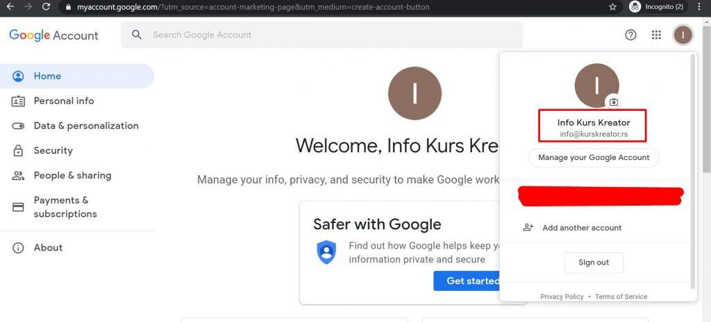 Vaš mail je povezan sa Gmailom
