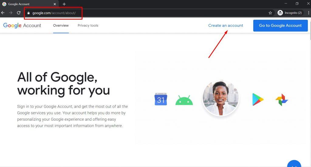 Početna stranica za otvaranje Gmail naloga