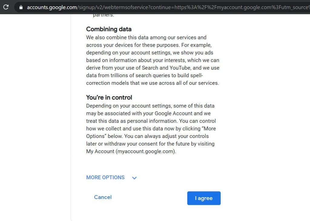 Prihvatanje Gmail uslova