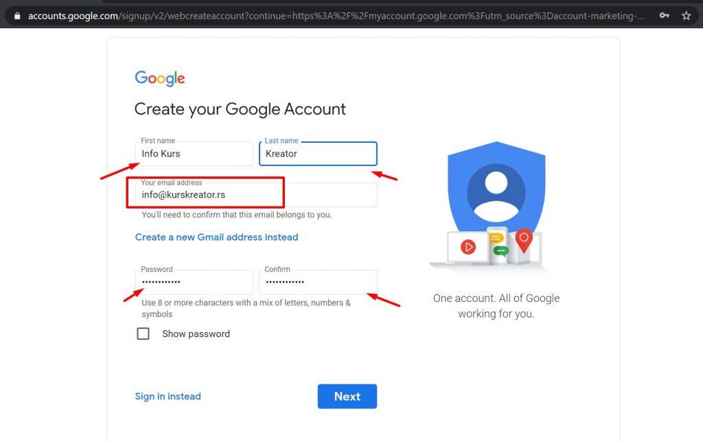 Upisivanje već postojeće mail adrese u Gmail nalog
