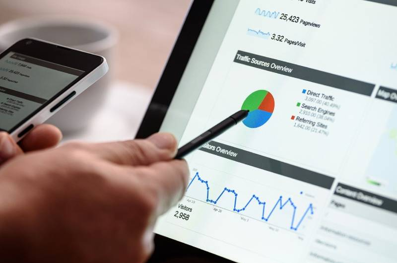 Osoba koja na laptopu analizira podatke iz google ads-a