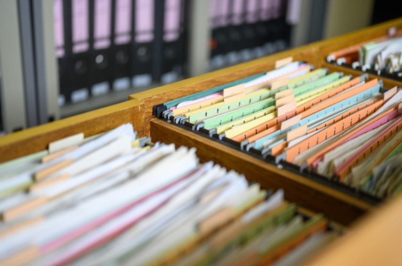 Slika arhiviranih podatakak po fasciklama različitih boja